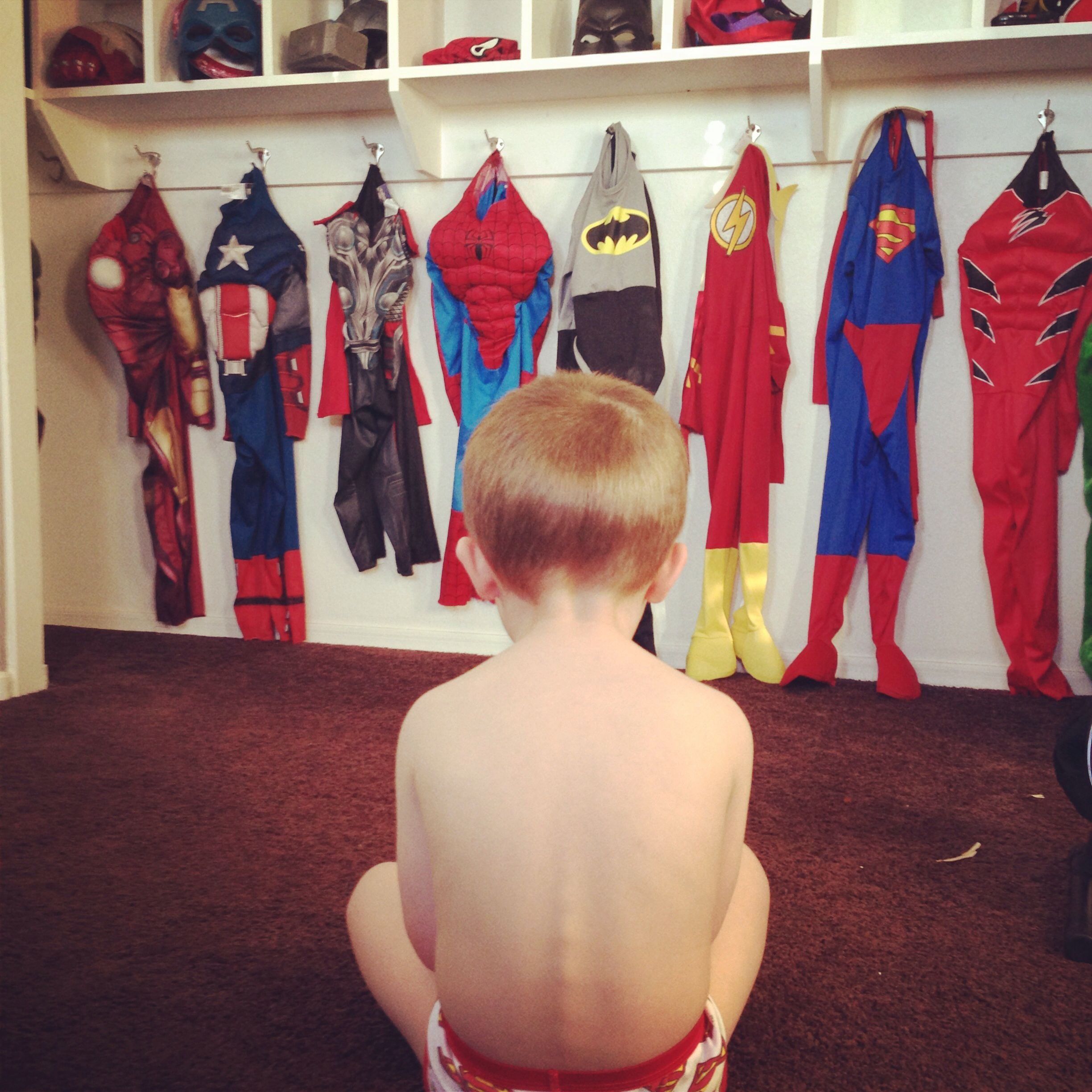 Best Superhero Costume Closet Fun For Boys And Sanity For Mom With Pictures