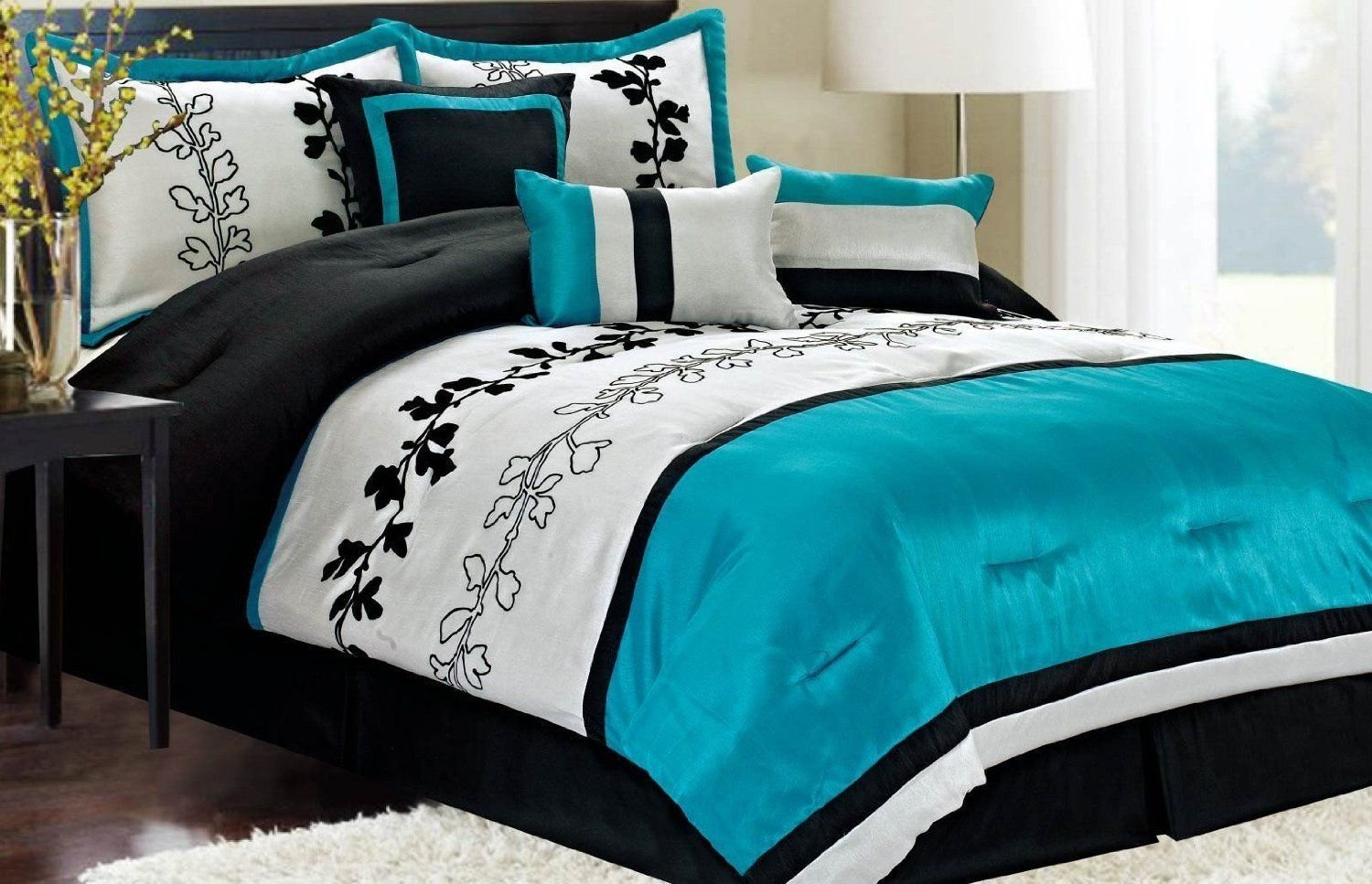 Best Bed Spreads Teal Cream Black Buy The Following Black And With Pictures