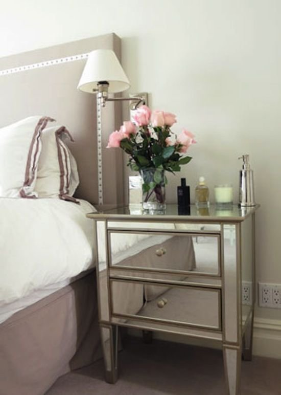 Best Bedroom Nailhead Trim Headboard Mirrored Nightstand With Pictures