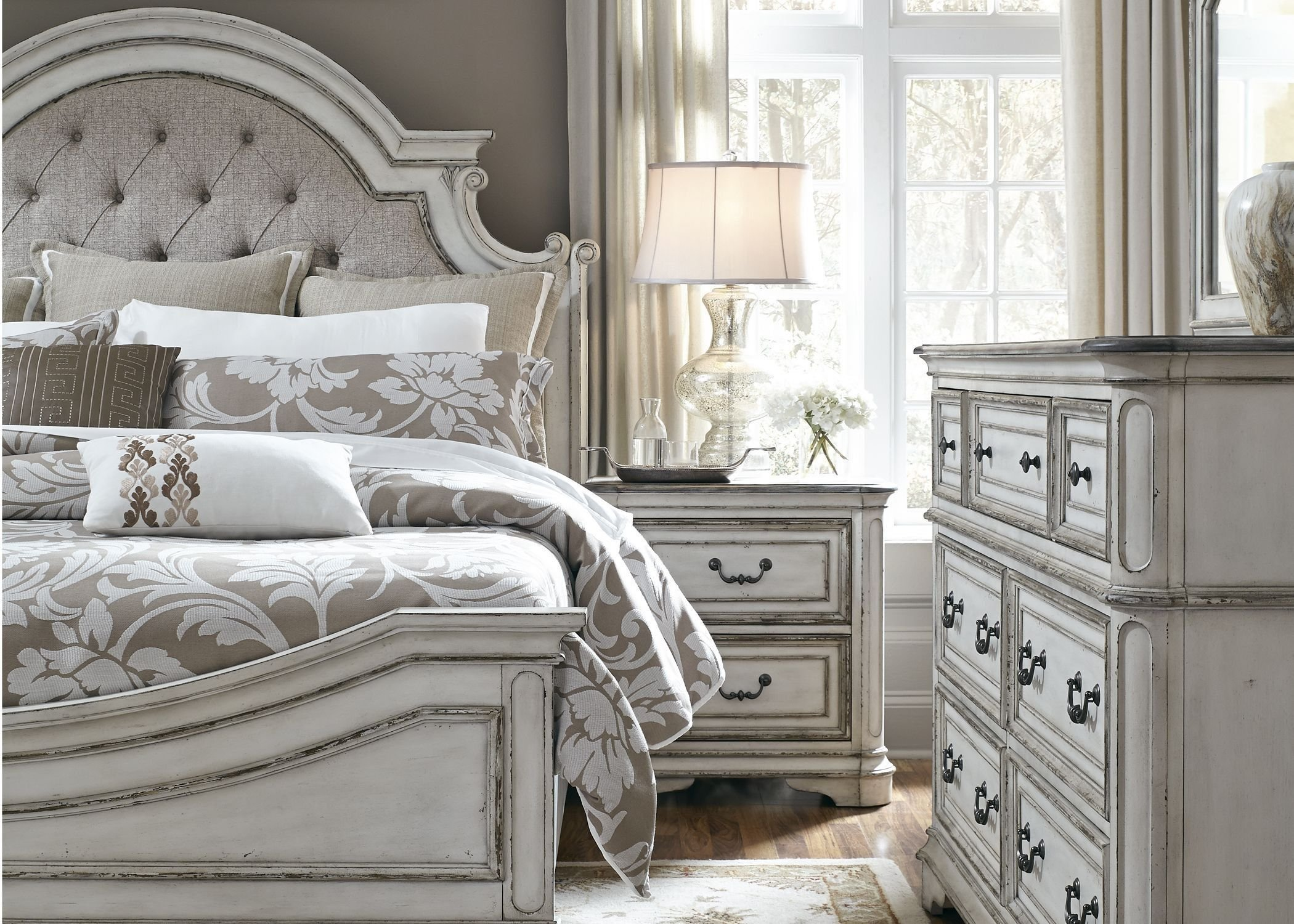Best Magnolia Manor Antique White Upholstered Panel Bedroom Set 244 Br Qub Liberty New Home Ideas With Pictures