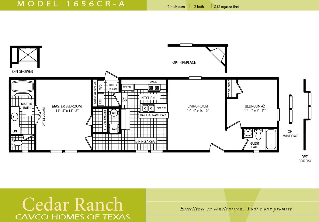 Best Cavco Homes Floor Plan 1656Cr A 2 Bedroom 1 Bath Single With Pictures