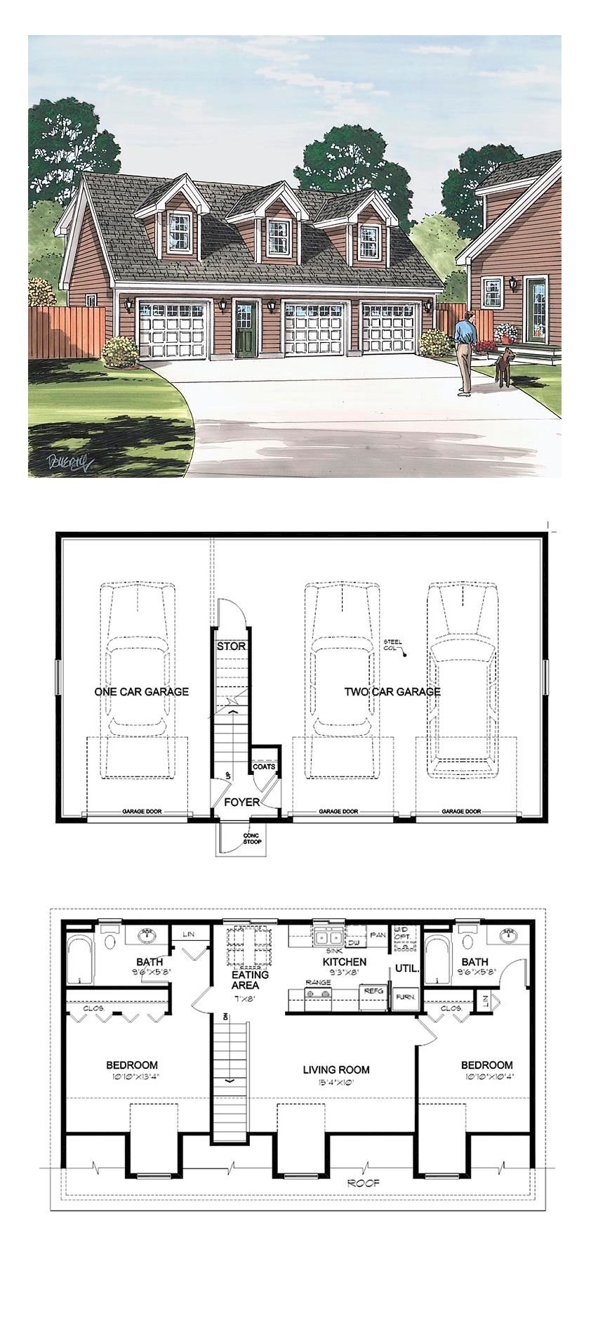 Best Garage Apartment Plan 30032 Total Living Area 887 Sq With Pictures