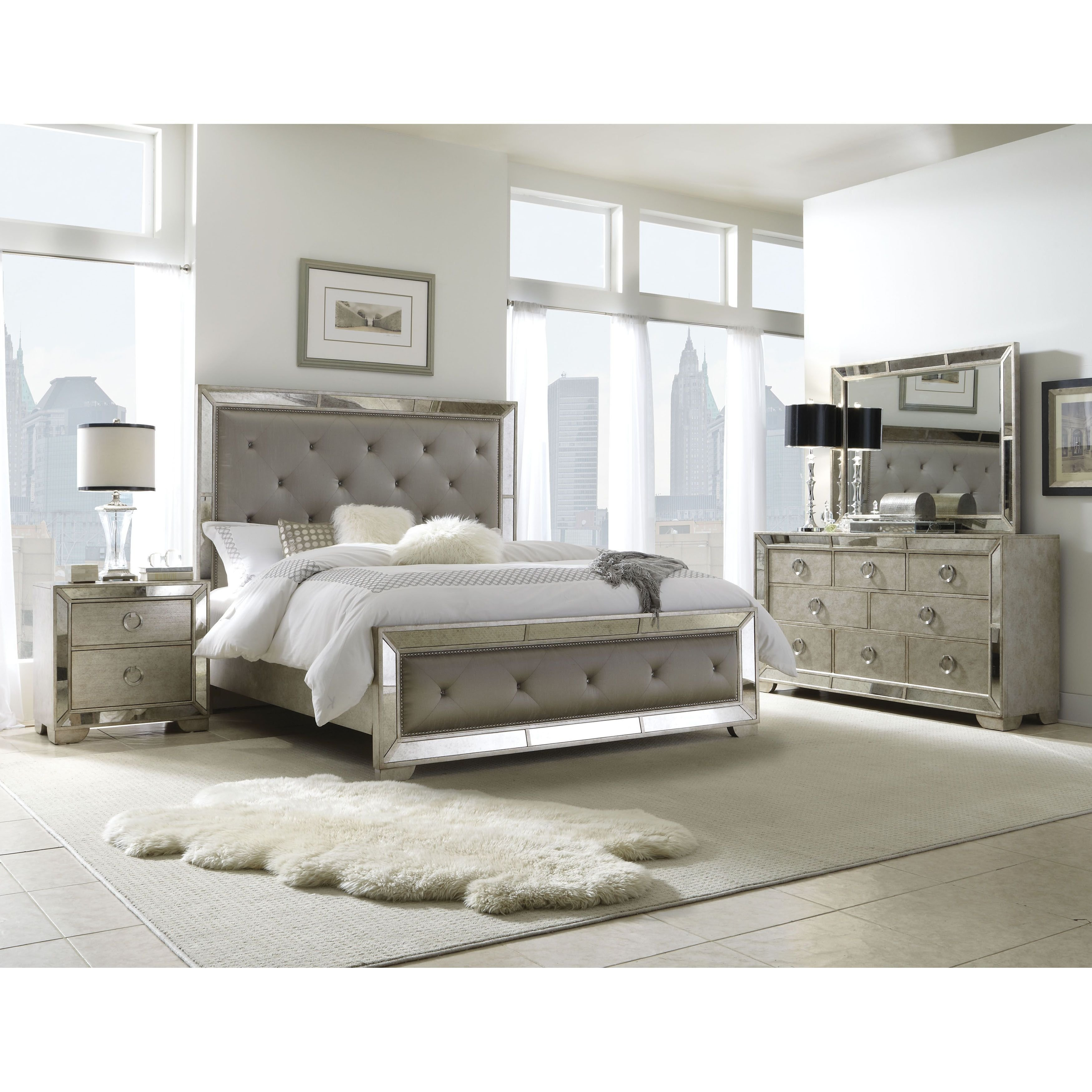 Best Celine 5 Piece Mirrored And Upholstered Tufted King Size With Pictures