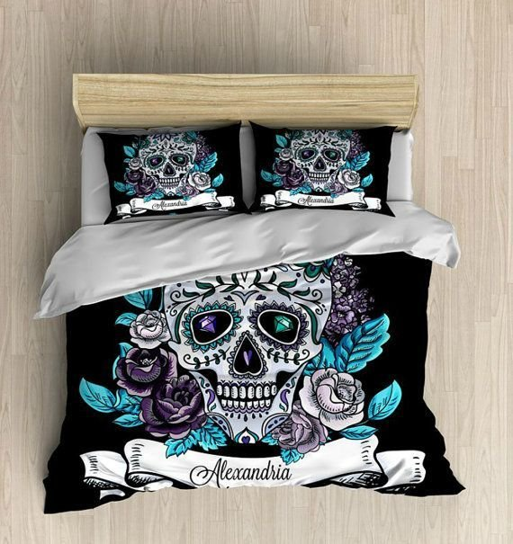 Best Skull Bedding Personalized Sugar Skull Bedding By Folkandfunky Things For My Wall Pinterest With Pictures
