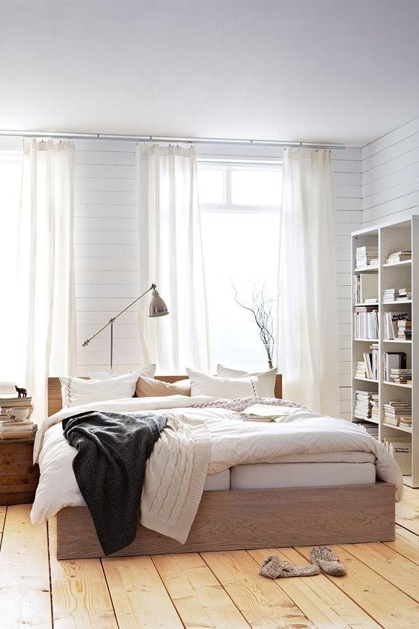 Best Malm Bed Frame High White Stained Oak Veneer Luröy With Pictures