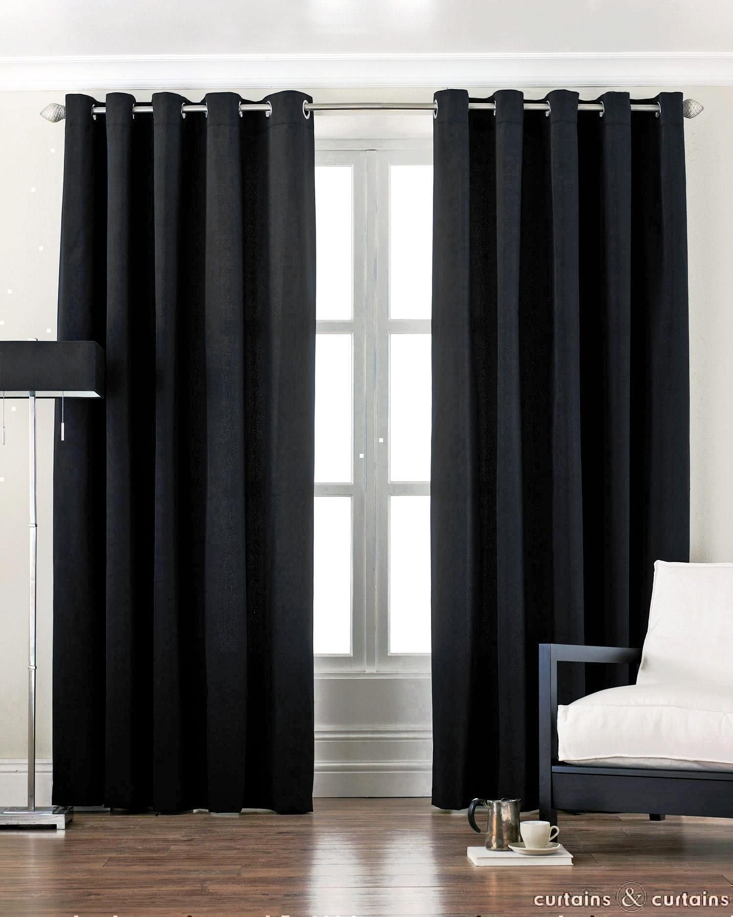 Best Cotton Canvas Black Eyelet Lined Curtain Black Curtains With Pictures