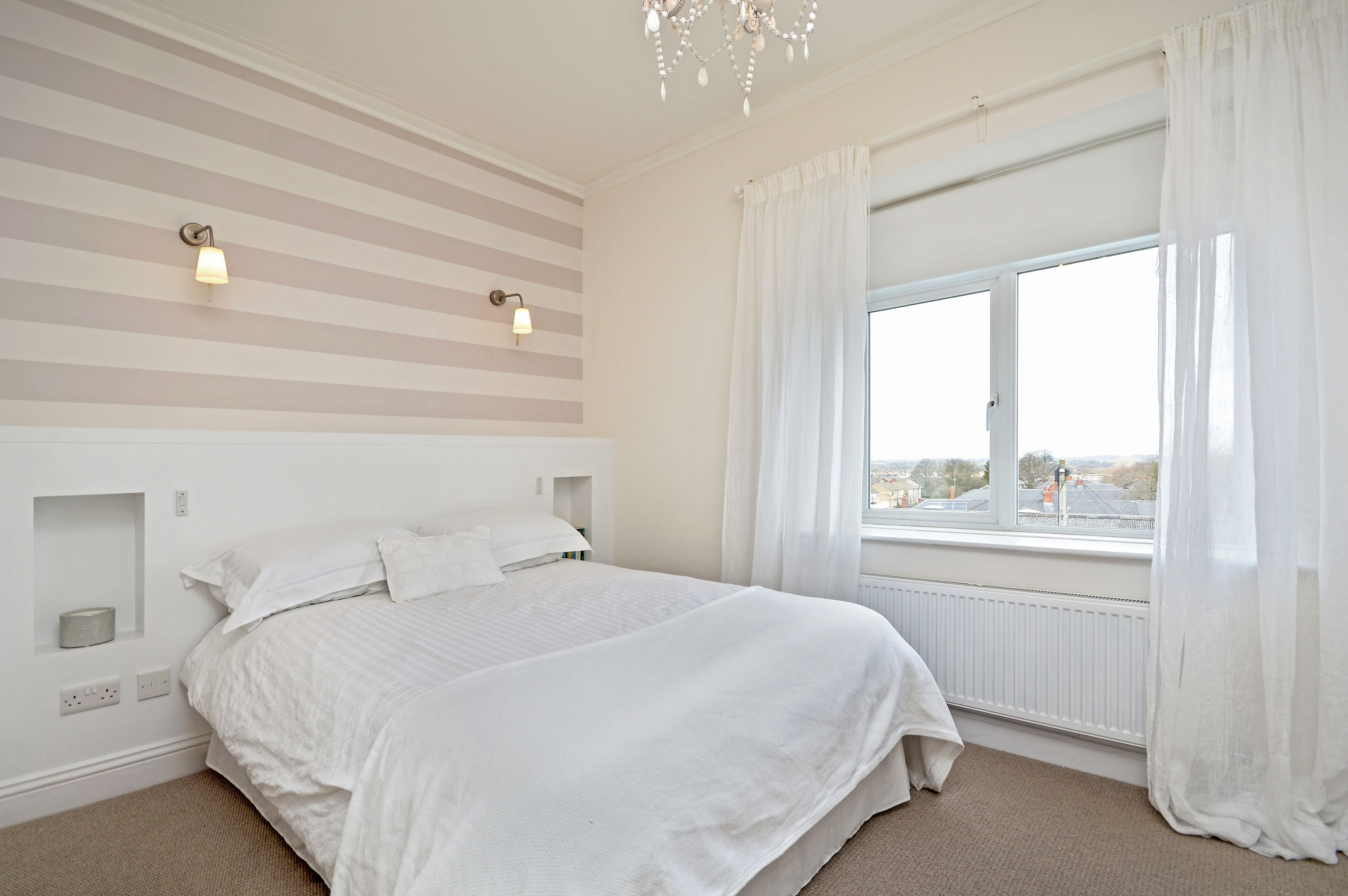 Best Bedroom With Grey And White Striped Wallpaper And Linen With Pictures