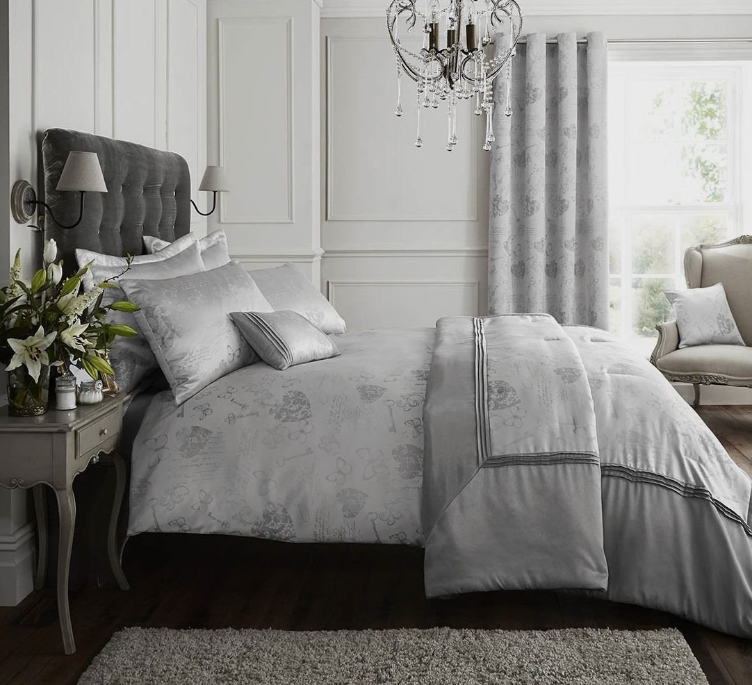 Best Silver Grey Quilt Duvet Cover Bedding Bed Set Bed Linen Or With Pictures