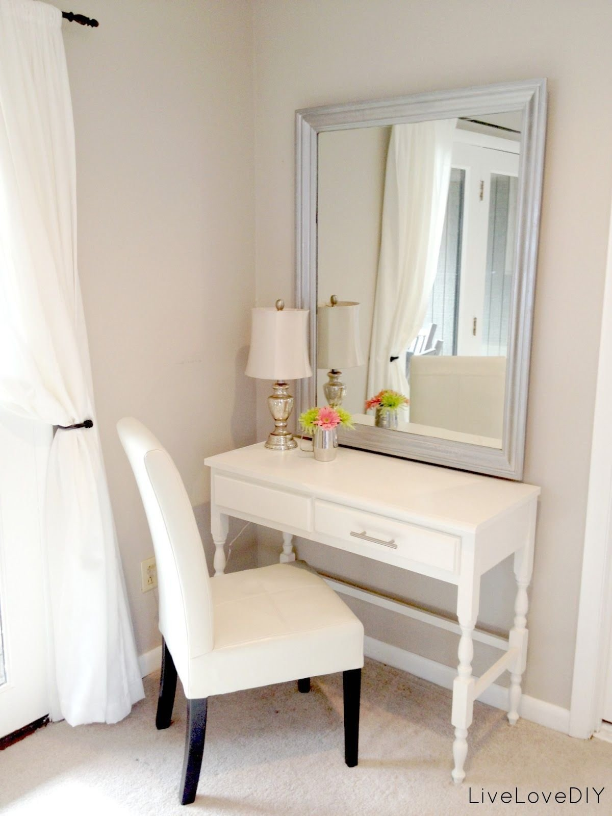 Best Thrift Store Desk Turned Bedroom Vanity Table Seen Here With Pictures