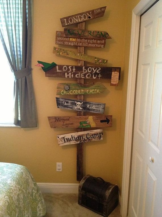 Best Customized Directional Sign Wooden Mile Marker Peter Pan Neverland For A Nursery Kid S Room On With Pictures