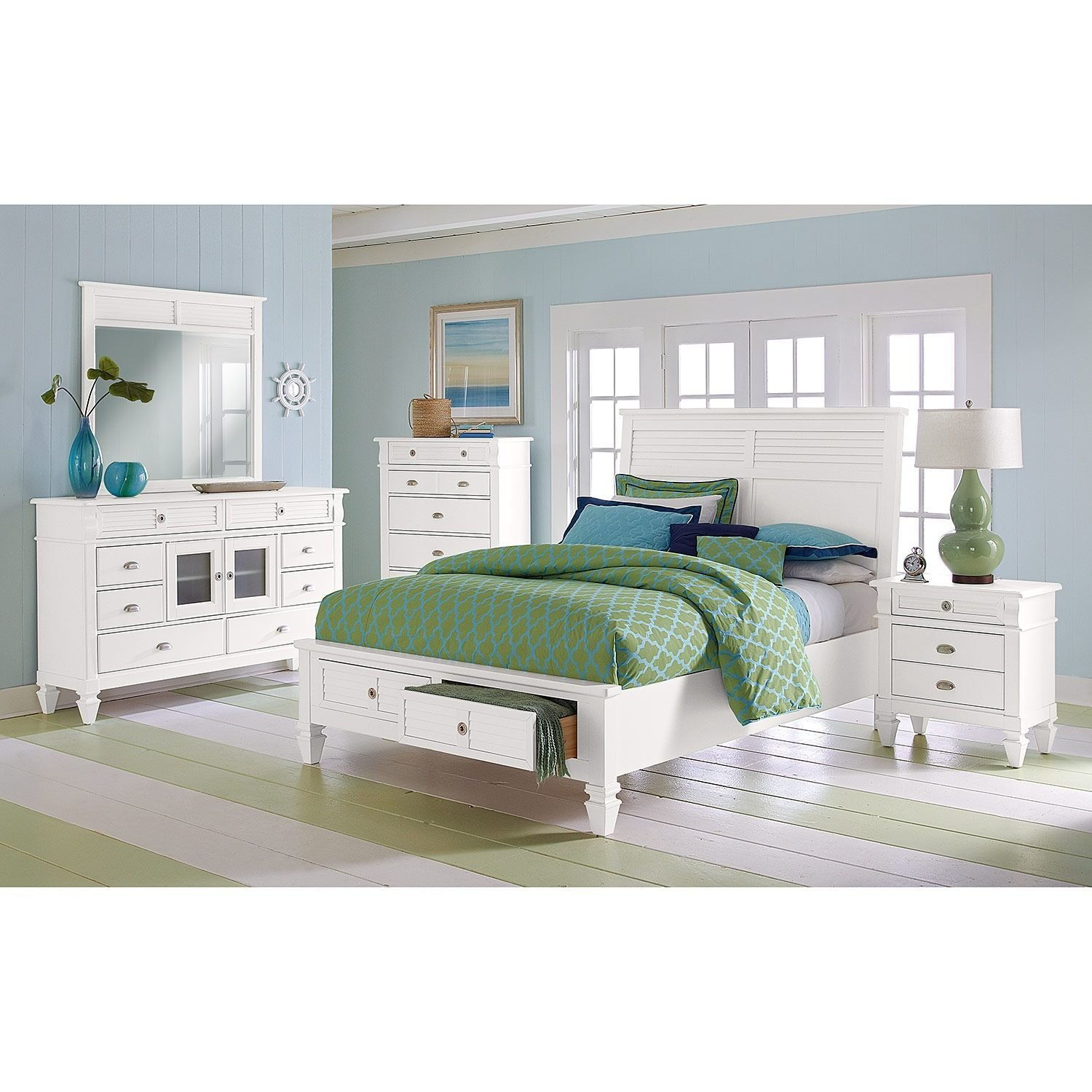 Best Charleston Bay White Ii Bedroom Queen Storage Bed With Pictures