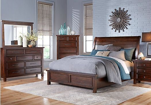 Best Mango Burnished Walnut 5 Pc King Panel Bedroom 1 255 00 With Pictures