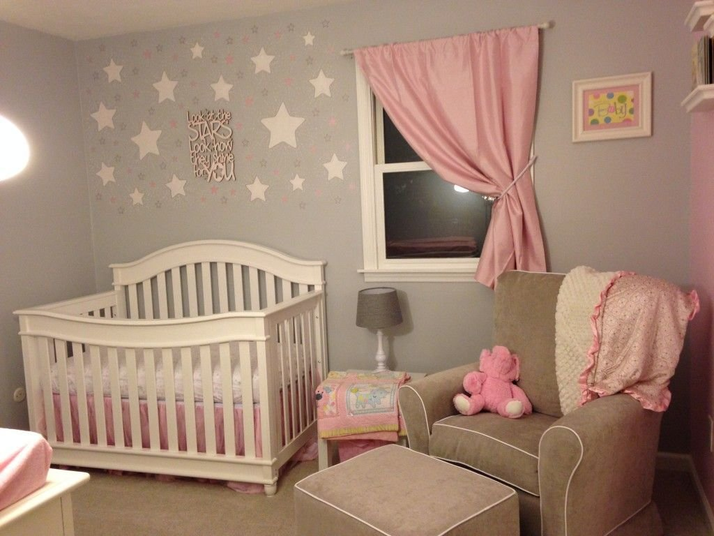Best Pink And Grey Starry Nursery Grey Walls Dream Baby And With Pictures