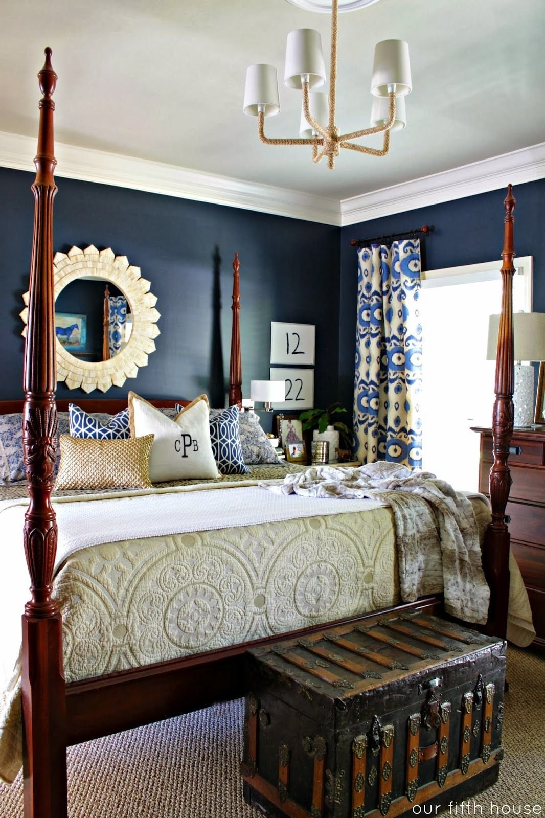 Best Striking Deep Blue Walls In This Master Bedroom Also With Pictures