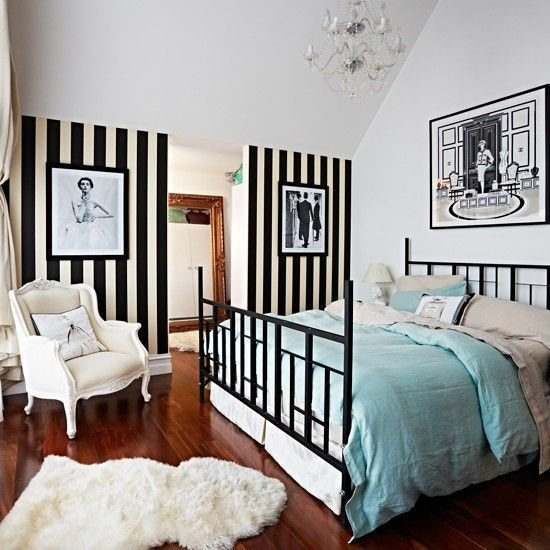 Best Bedroom With Black And White Striped Wallpaper Modern With Pictures