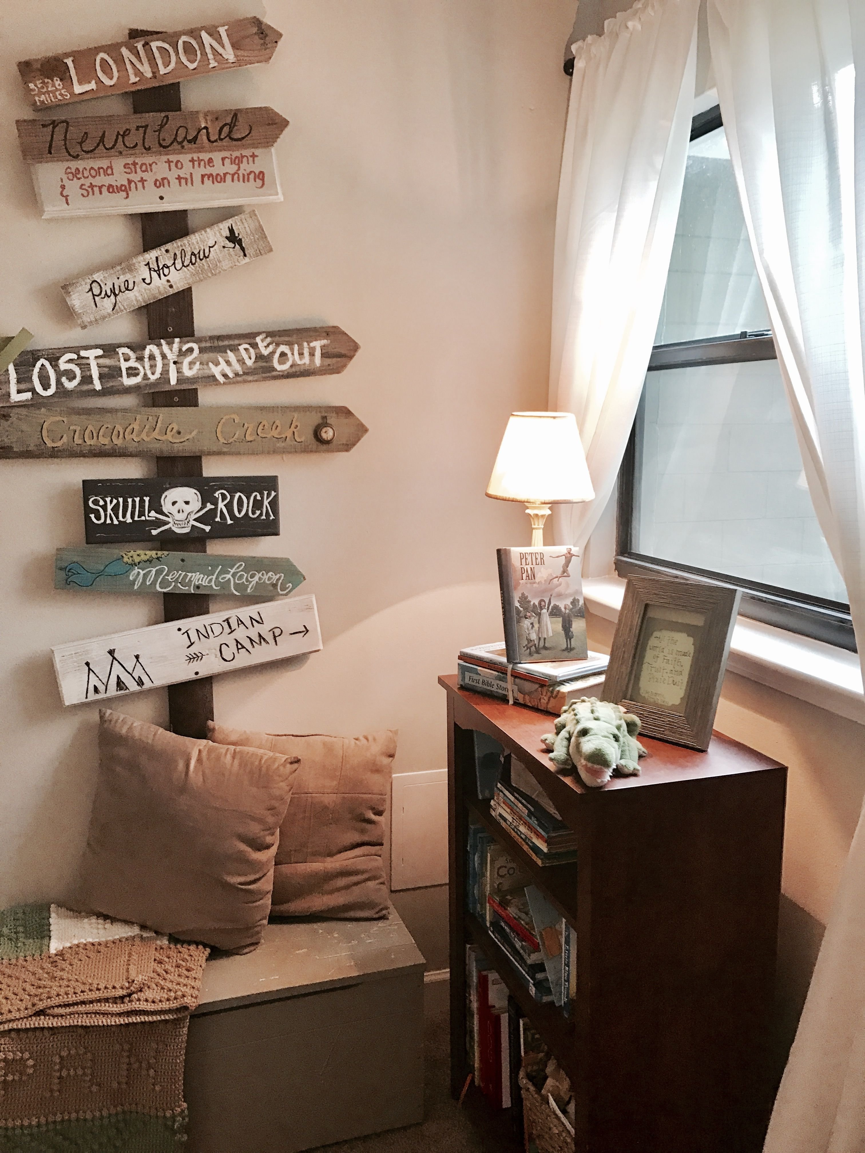 Best Bookshelf And Directional Wall Decor For Peter Pan Bedroom With Pictures