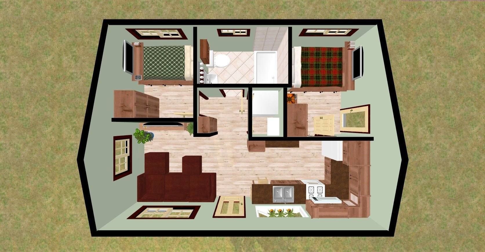 Best Cozyhomeplans Com 432 Sq Ft Small House Firefly 3D Top With Pictures