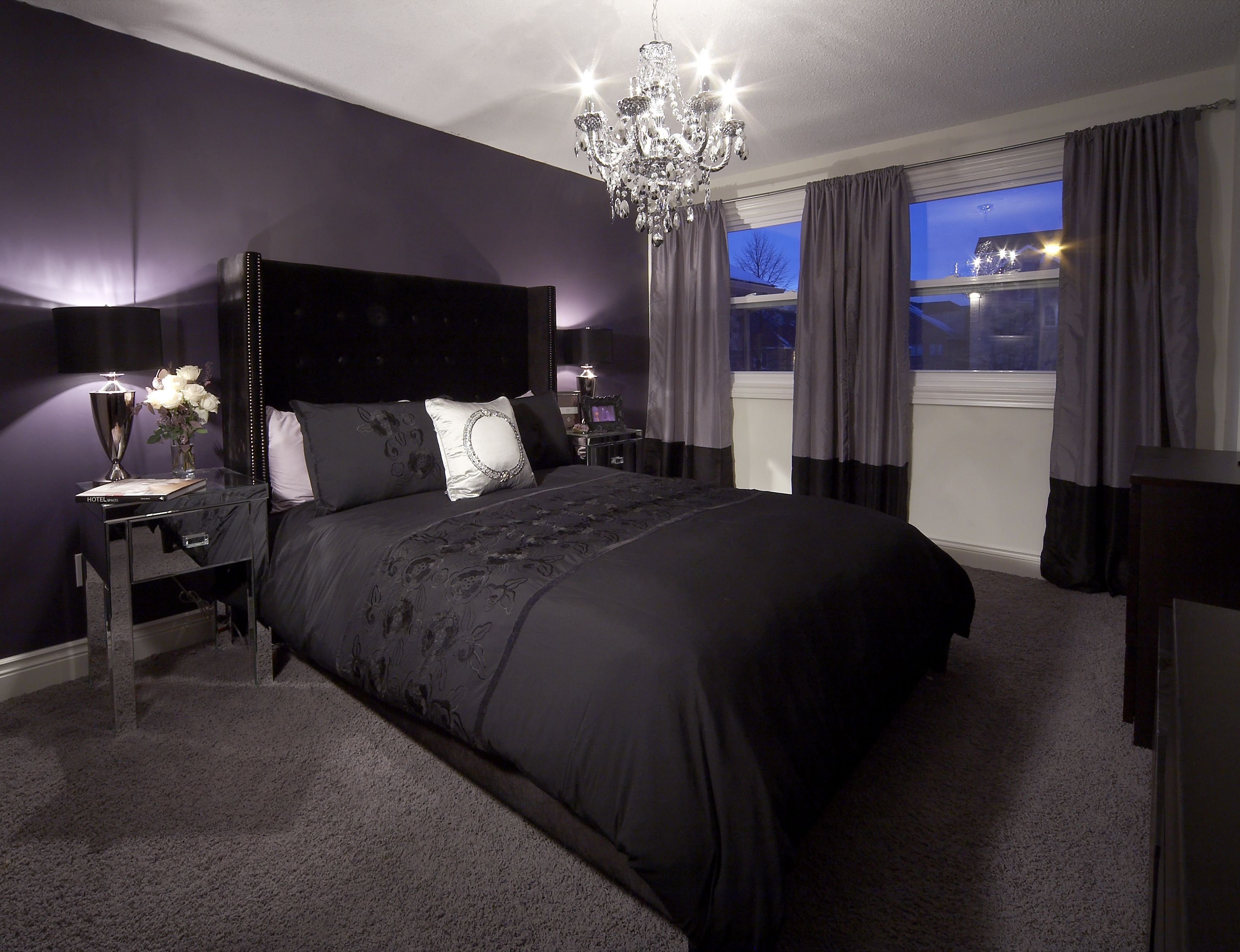 Best Bedroom With Purple Feature Wall And Drapery Crystal With Pictures