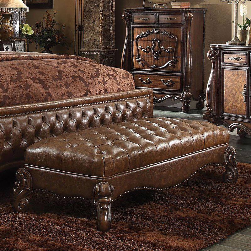 Best Versailles Bench Cherry Oak By Acme Furniture With Pictures