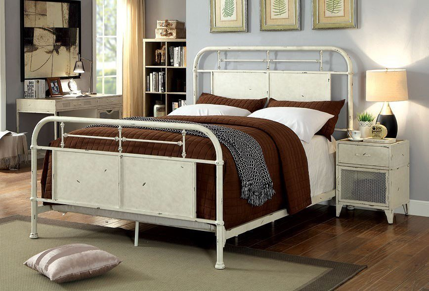 Best Haldus Metal Bedroom Set Distressed White By Furniture Of America Furniturepick With Pictures