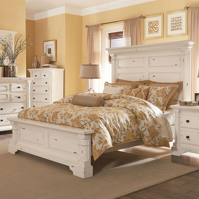 Best Gramercy Park Panel Bedroom Set Aged White By With Pictures