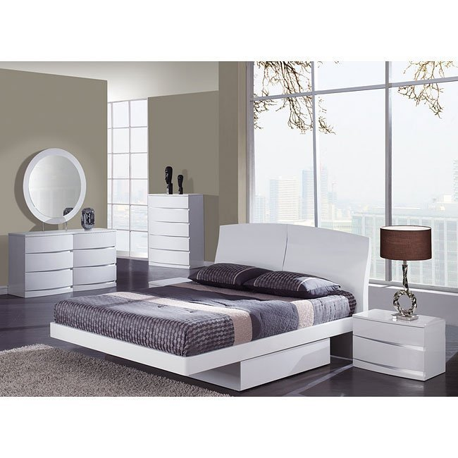 Best Aria Glossy White Platform Bedroom Set By Global Furniture With Pictures