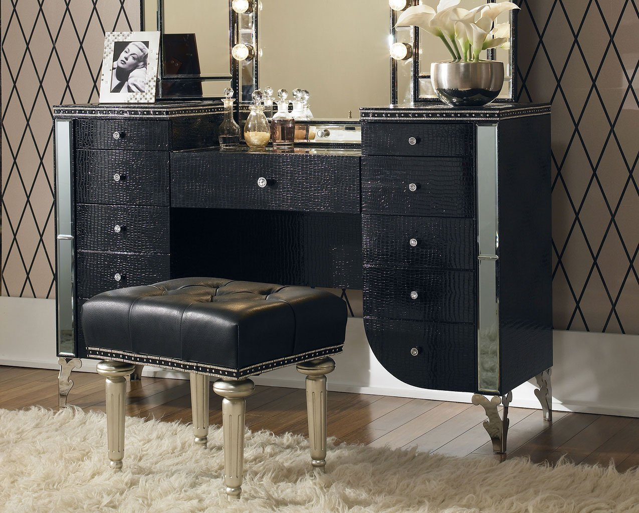 Best Hollywood Swank Bedroom Set W Creamy Pearl Bed Aico With Pictures