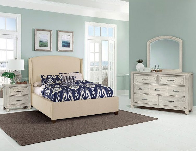 Best Rustic Cottage Upholstered Bedroom Set White Vaughan With Pictures