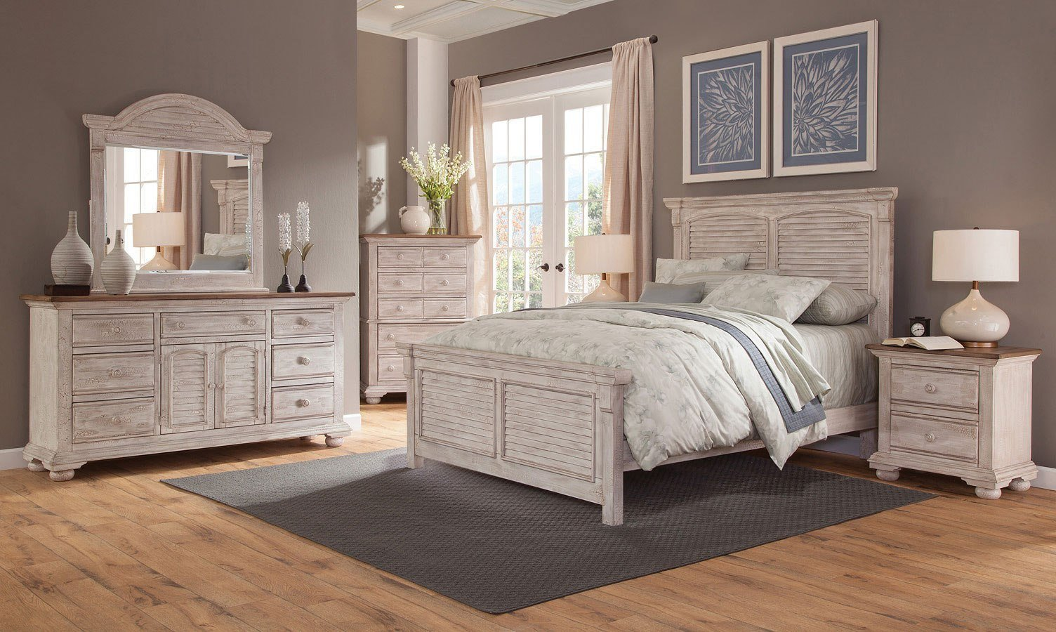 Best Cottage Traditions Panel Bedroom Set Crackled White With Pictures