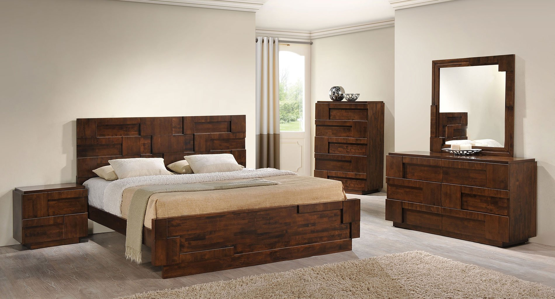 Best San Diego Panel Bedroom Set Walnut Zuo Modern With Pictures