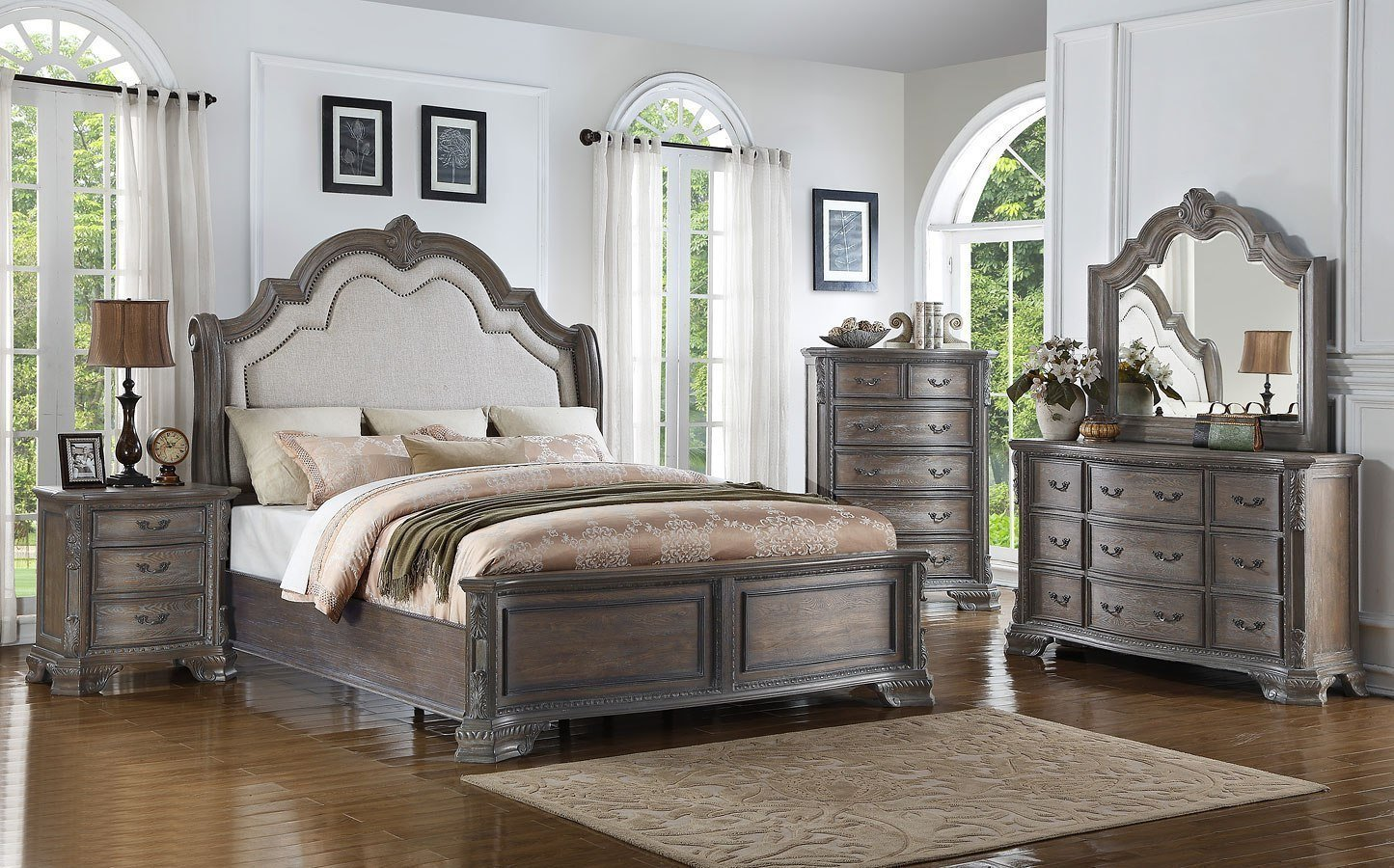 Best Sheffield Panel Bedroom Set Antique Grey Crown Mark With Pictures