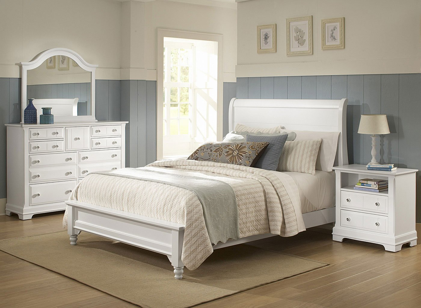 Best Cottage Sleigh Bedroom Set Snow White Vaughan Bassett Furniture Cart With Pictures