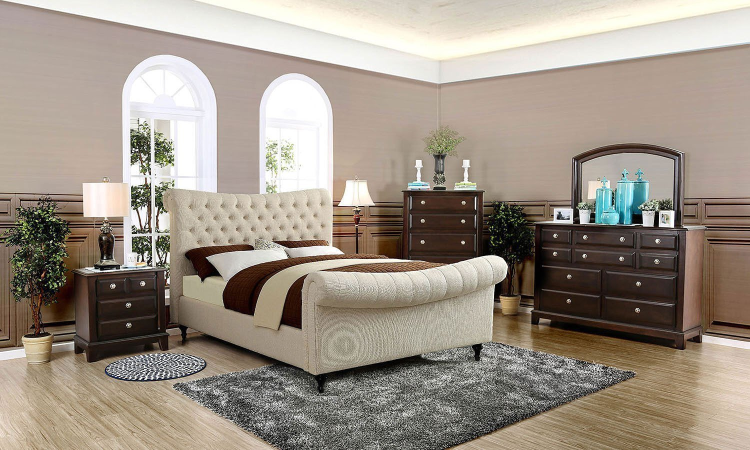 Best Galene Upholstered Bedroom Set Beige Furniture Of With Pictures
