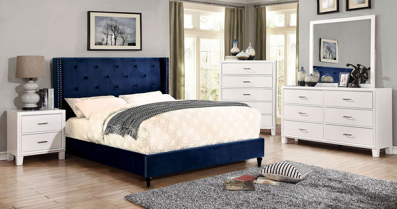 Best Anabelle Navy Upholstered Bedroom Set Furniture Of America With Pictures