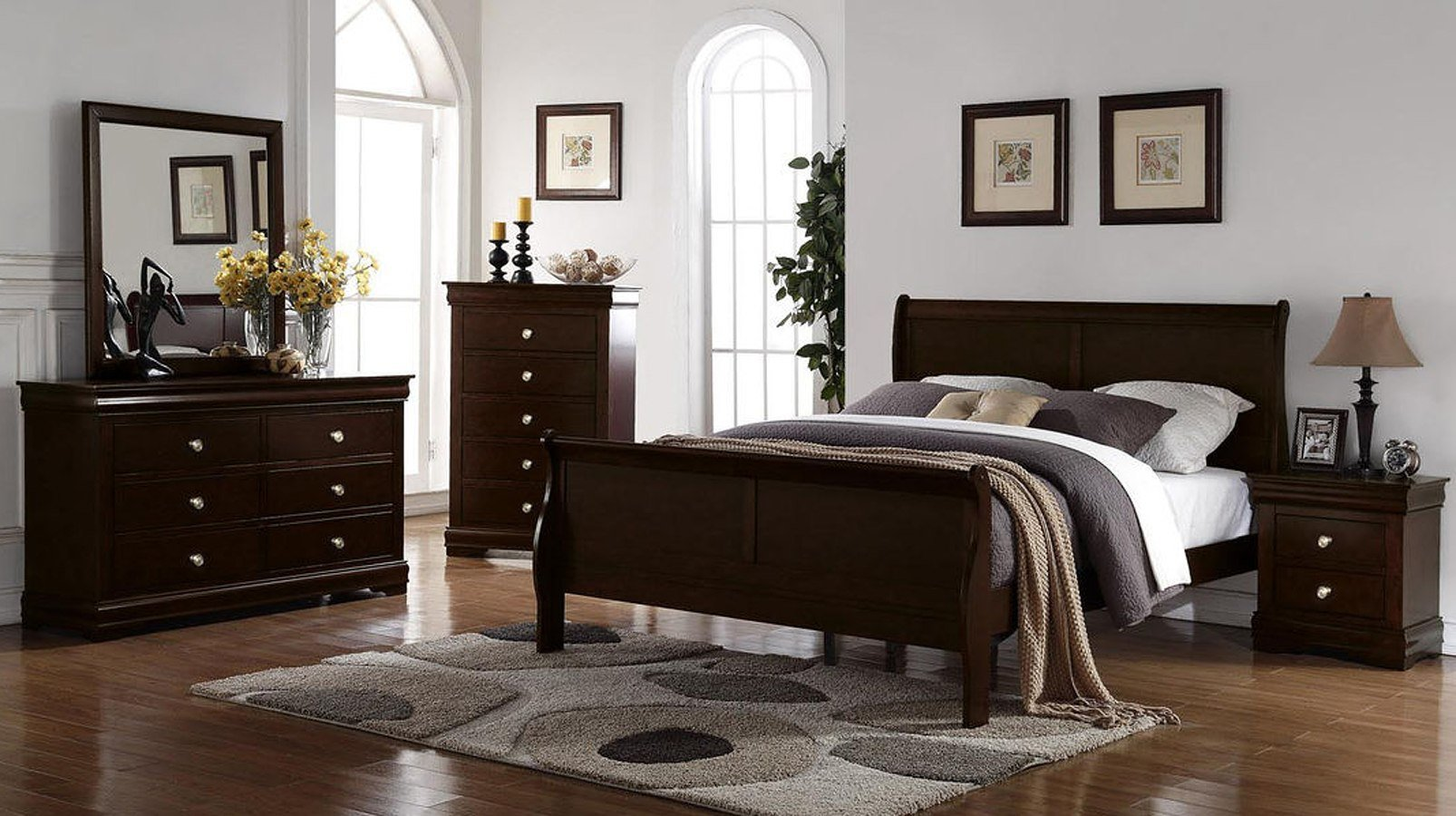 Best Orleans Sleigh Bedroom Set Merlot Steve Silver Furniture With Pictures