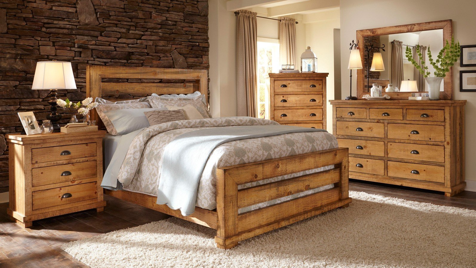 Best Willow Slat Bedroom Set Distressed Pine Progressive With Pictures