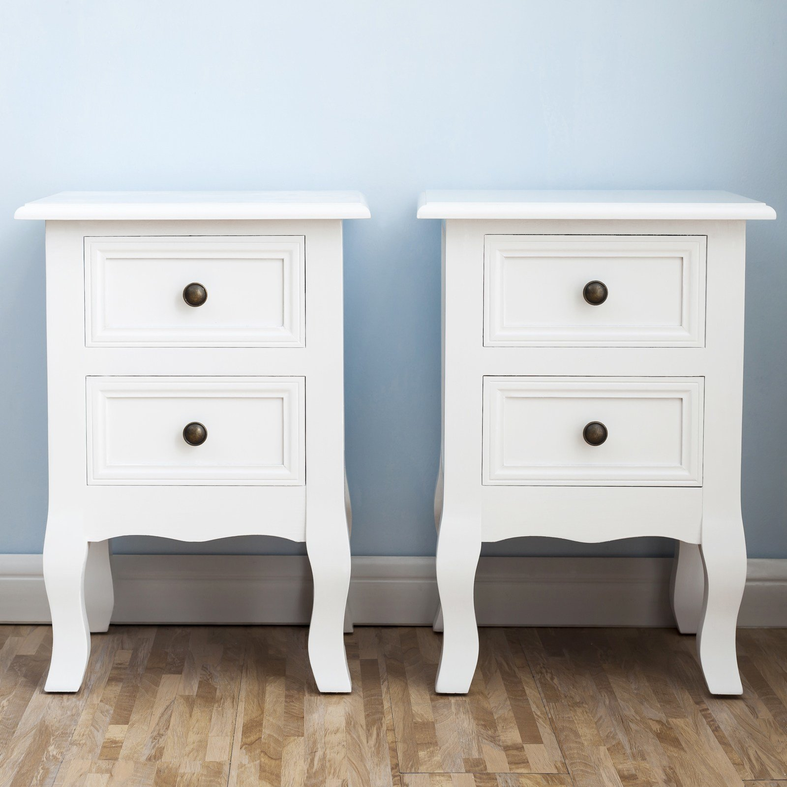 Best White Nightstand Set 2 Bedside End Table Pair Shabby Ch*Ck With Pictures