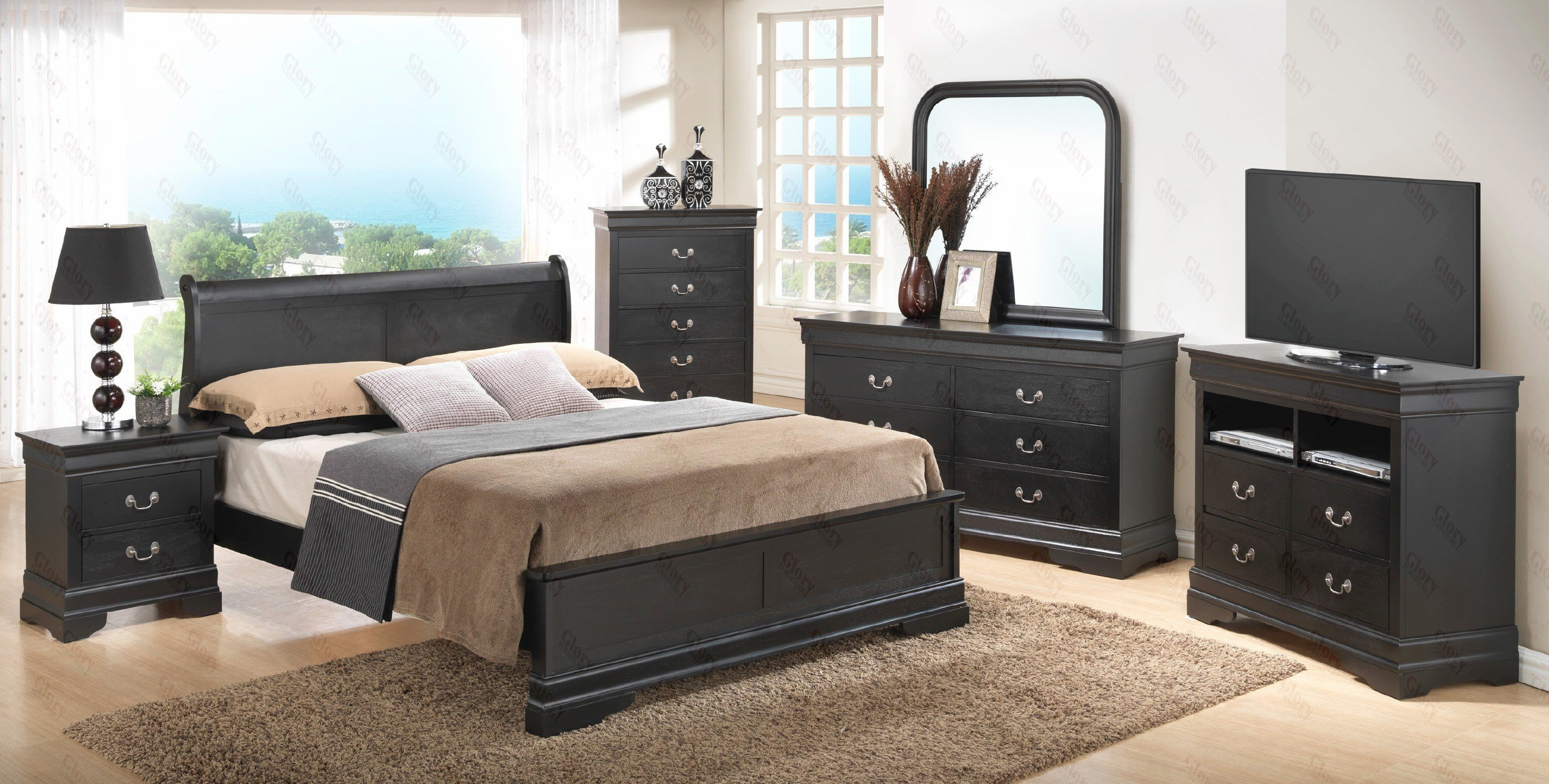 Best Black Wood Contemporary Bedroom Set G3150E Glory Furniture With Pictures
