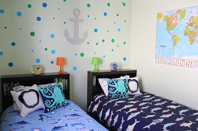 Best Boys Shark Theme Shared Bedroom A Pretty Life In The Suburbs With Pictures