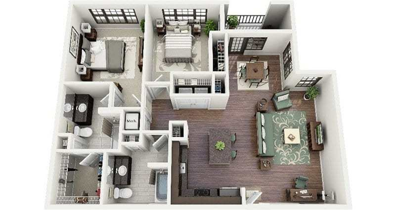 Best 19 Awesome 3D Apartment Plans With Two Bedrooms Part 1 With Pictures