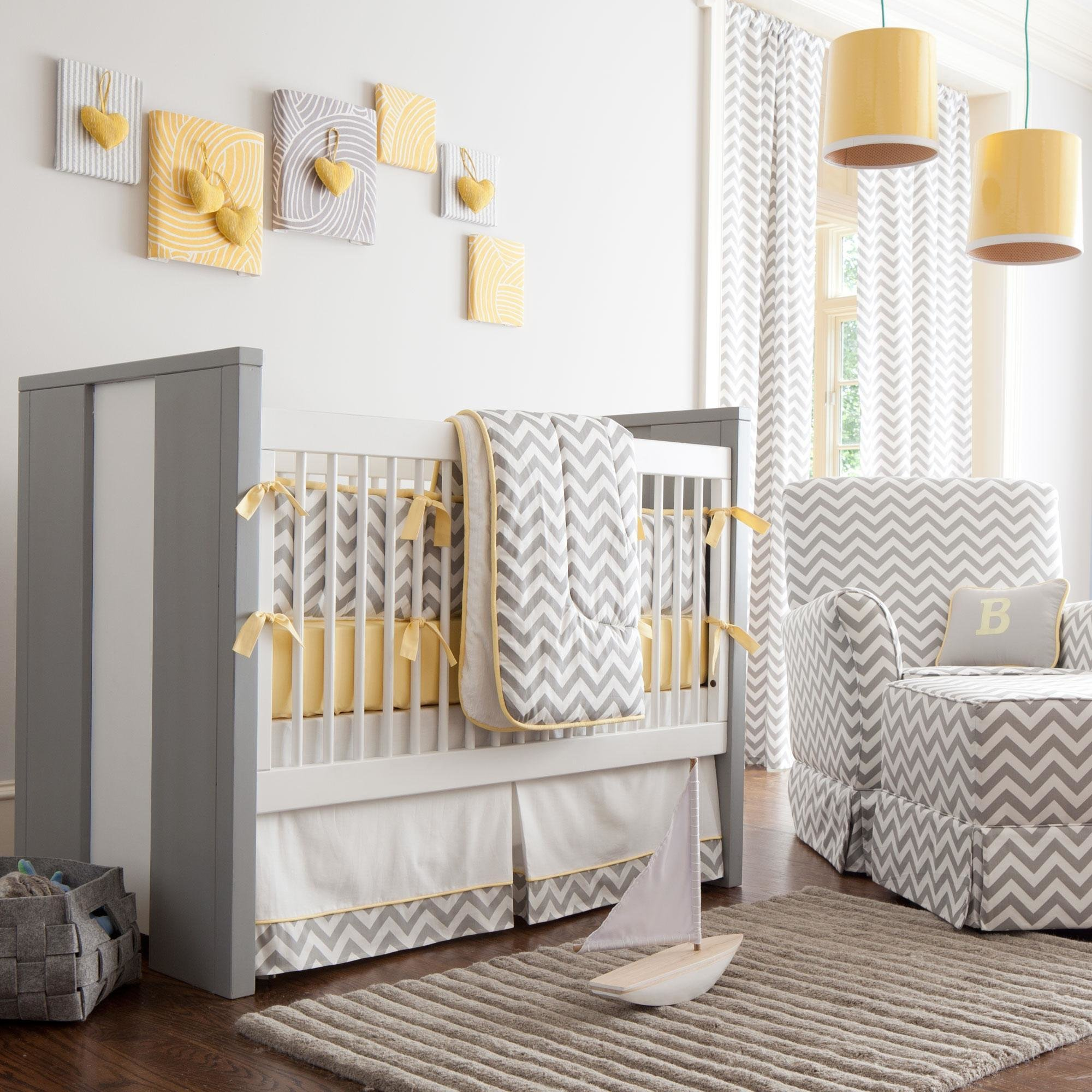 Best Gray And Yellow Zig Zag Crib Bedding Bold Chevron Crib With Pictures