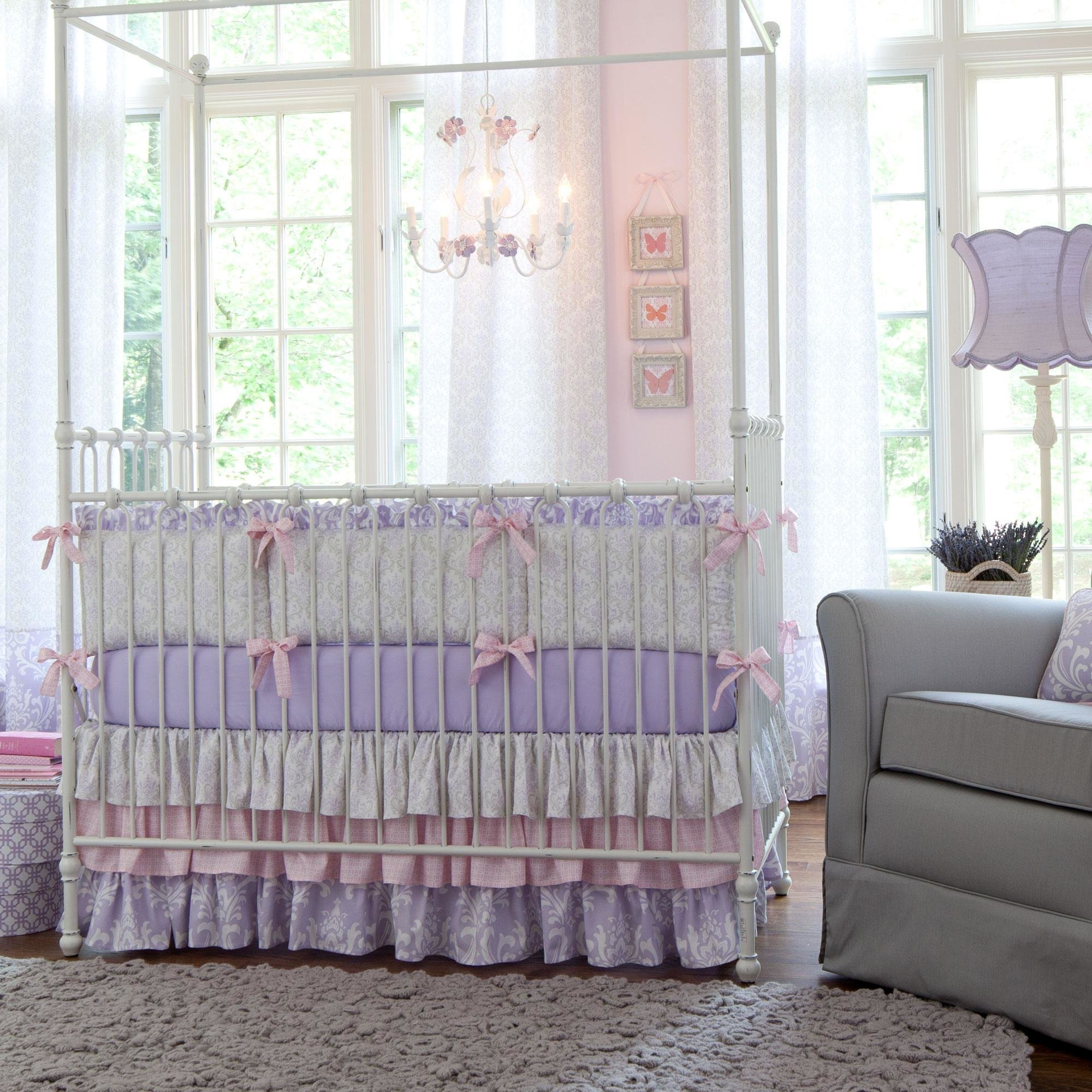 Best Lilac And Silver Gray Damask Crib Bedding Baby Girl Crib With Pictures