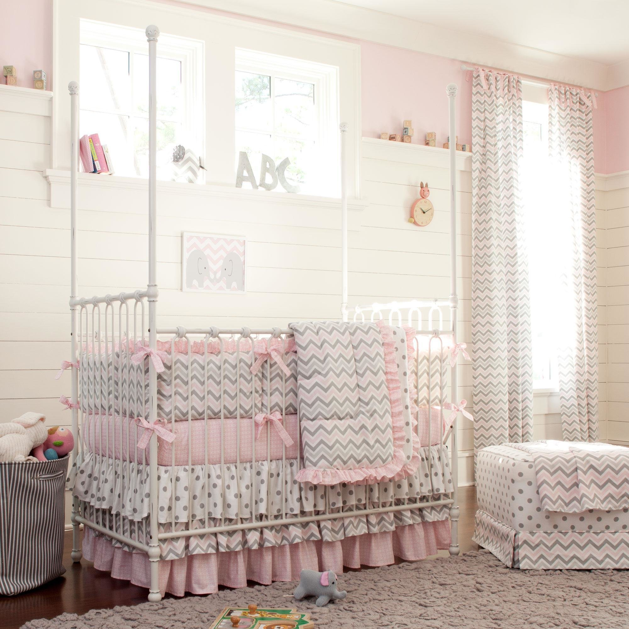 Best Pink And Gray Chevron Crib Bedding Carousel Designs With Pictures