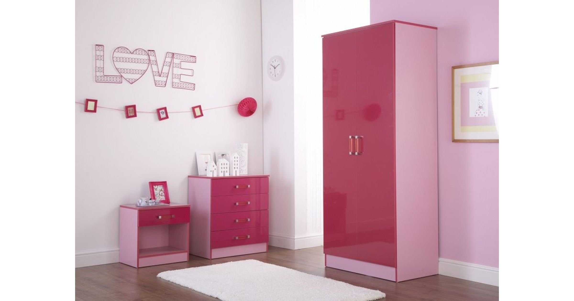Best Ottawa 2 Tones Pink High Gloss Bedroom Set With Pictures