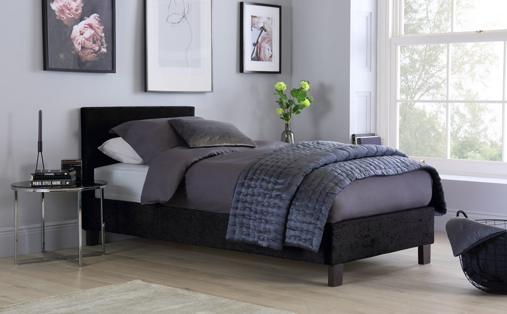 Best Berlin Black Crushed Velvet Single Bed Only £129 99 With Pictures