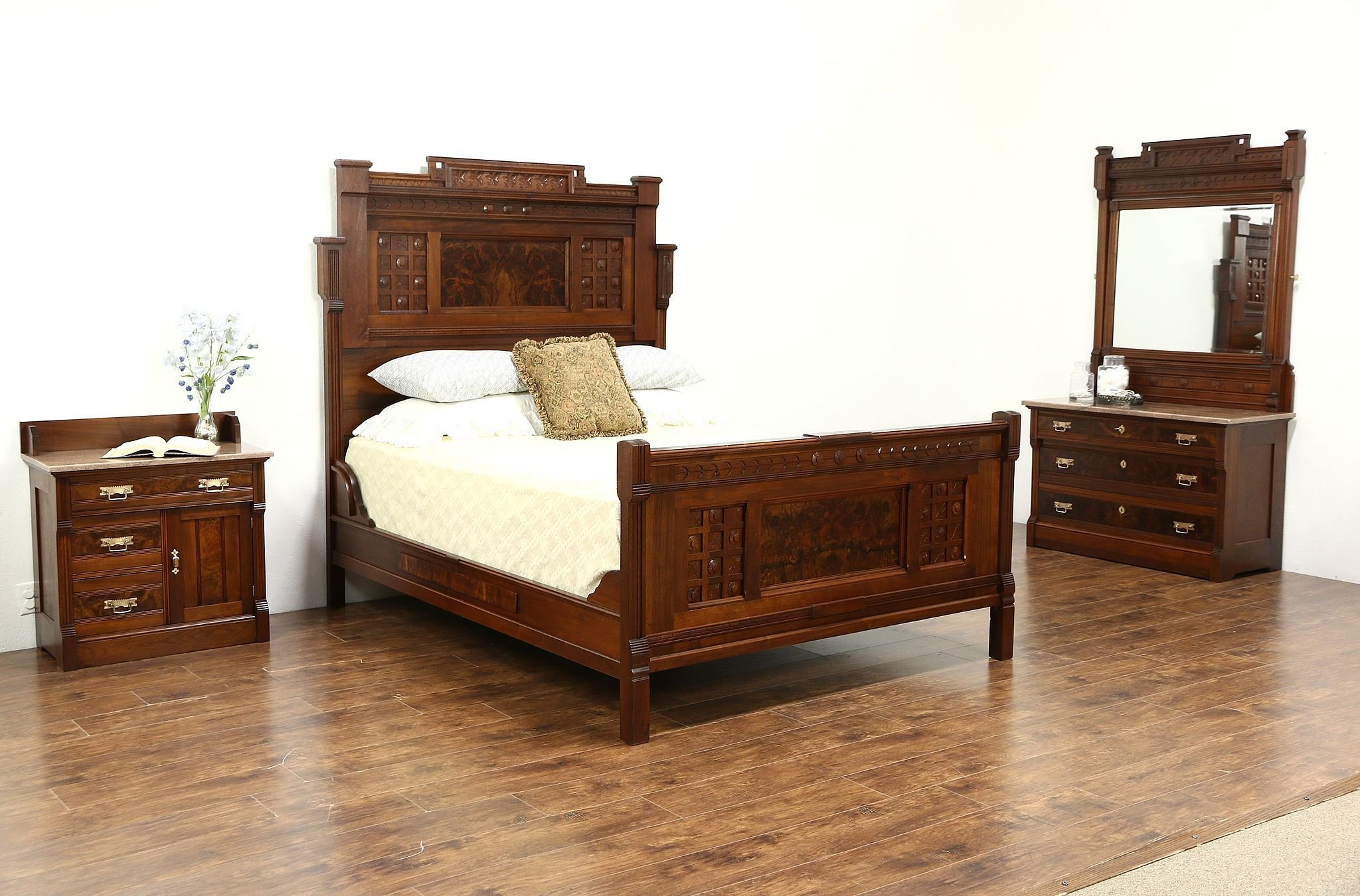 Best Sold Victorian Eastlake 1880 Antique 3 Pc Queen Size With Pictures