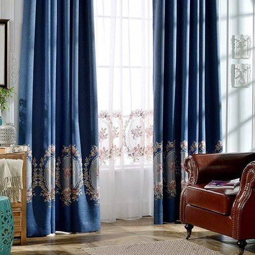 Best European Style Dark Blue Linen And Cotton Floral Embroidery Bedroom Curtains With Pictures