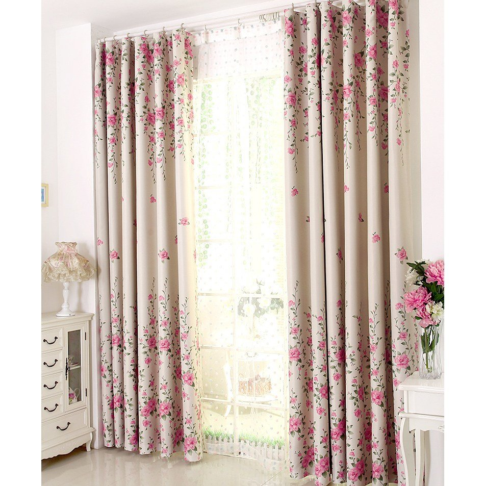 Best Pink Floral Print Poly Cotton Blend Country Curtains For Bedroom Or Living Room On Sale With Pictures