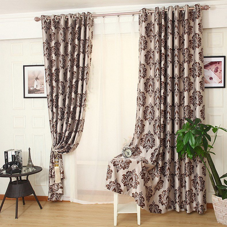 Best Coffee Floral Jacquard Poly Cotton Blend Bedroom Custom Curtains On Sale With Pictures