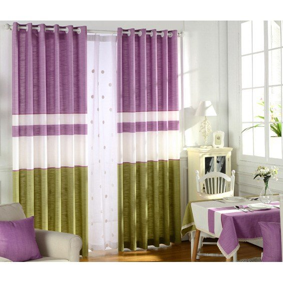 Best Purple And Green Color Block Print Linen Curtains For Bedroom With Pictures